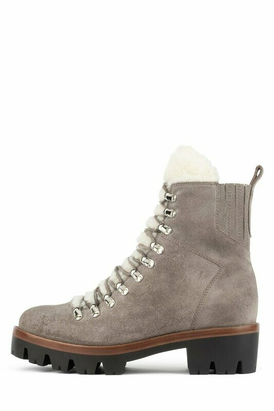 Jeffrey Campbell Taupe Suede Lace Up Hiker Boot