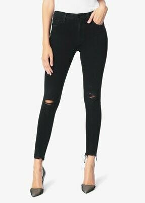Black Distressed High Rise Skinny Ankle Jean