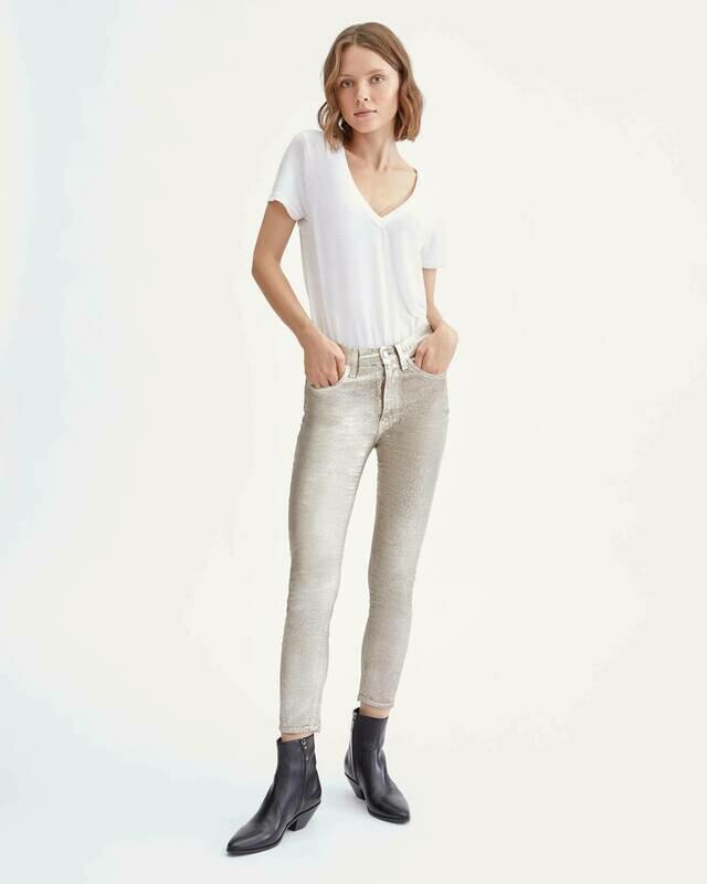 Metallic Gold Velvet High Waist Ankle Skinny Jean