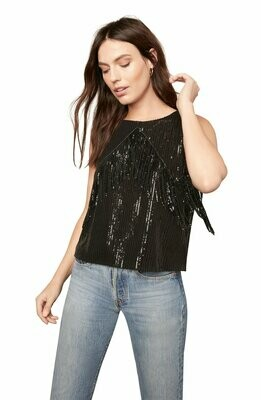 Black Sequin Fringe Sleeveless Shirt