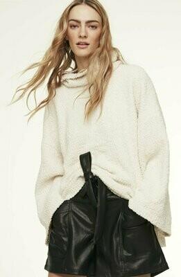 Cream Fleece Funnel Neck Sweater