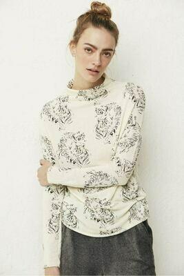 Cream Tiger's Head Mock Neck Sweater