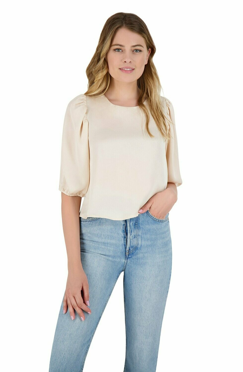 Alabaster Satin Balloon Sleeve Crop Top