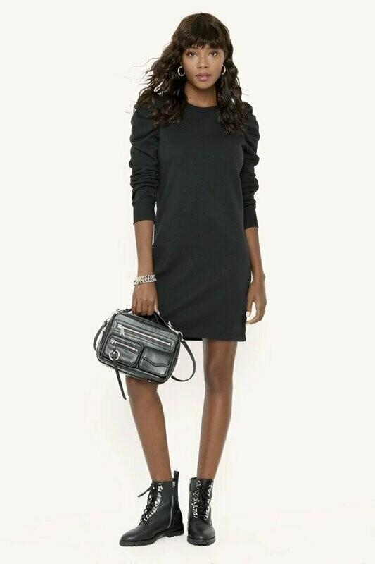Black Puffed Sleeve Sweatshirt Dress