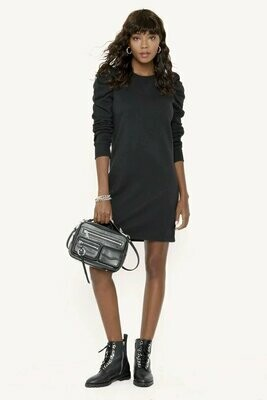 Black Puffed Sleeve Sweatshirt Dress