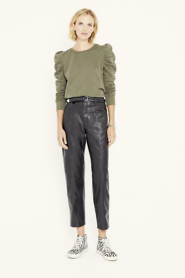 Black Faux Leather Straight Leg Pant