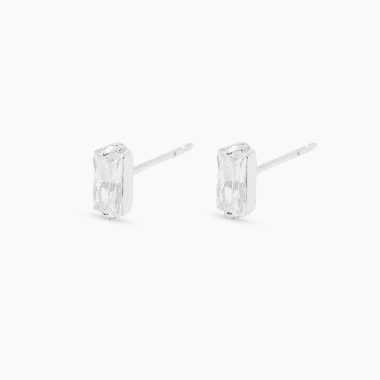 Amara Silver Solitaire Stud Earrings
