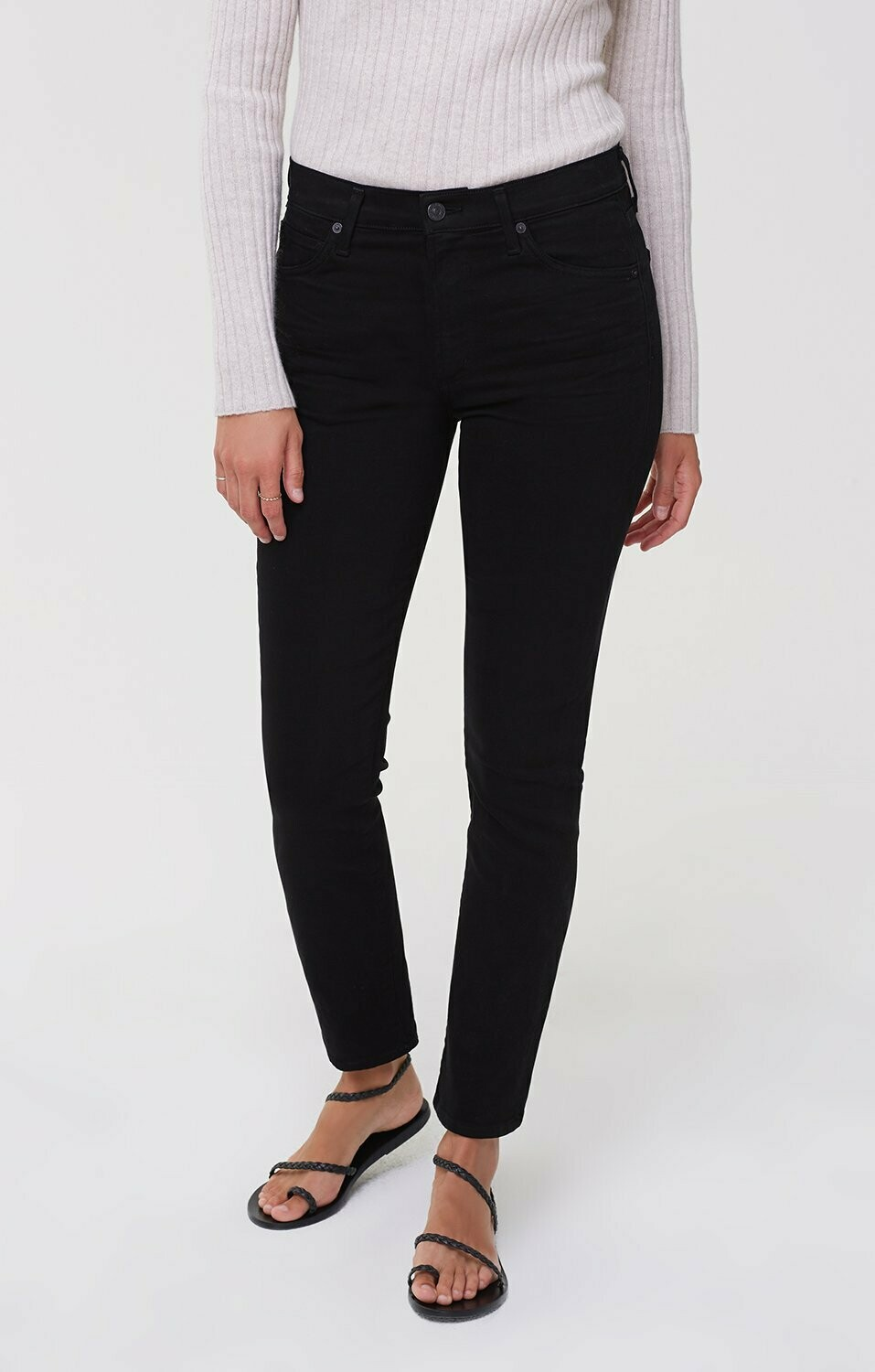Plush Black Mid-Rise Cigarette Jean