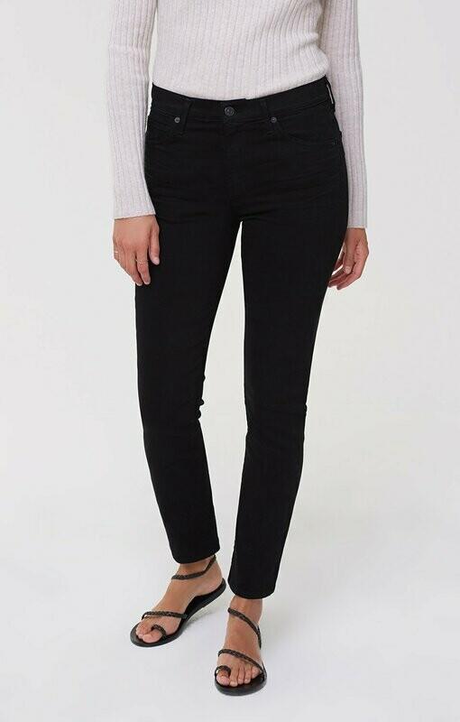 Plush Black Mid-Rise Cigarette Jean