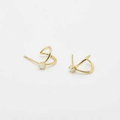 Opalite Solitaire Double Huggie Earrings