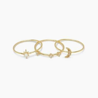 Luna White Opalite Ring Set/3