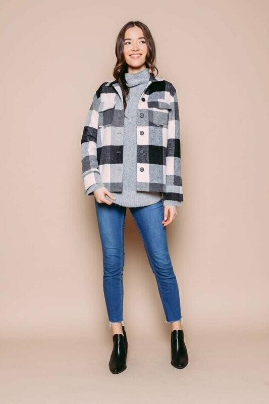 Gray Check Plaid Shirt Jacket