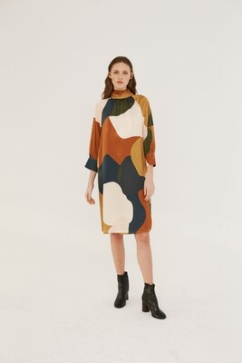 Mod Color Block Mock Neck Midi Dress