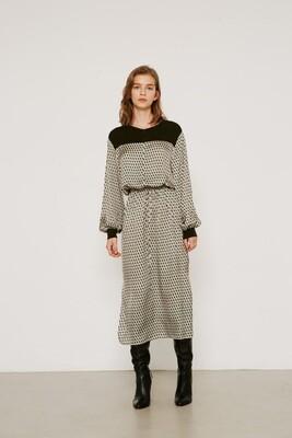 Multi Geometric Drawstring Waist Maxi Dress