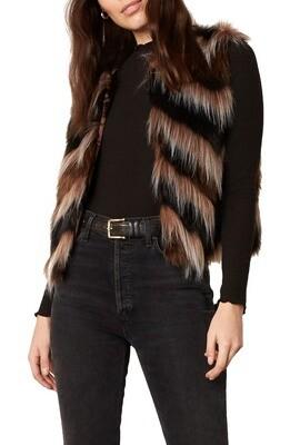 Mixed Browns Chevron Faux Fur Vest