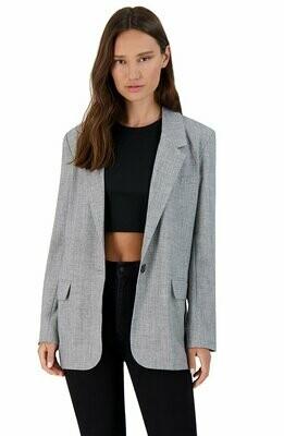 Gray Single Button Long Blazer