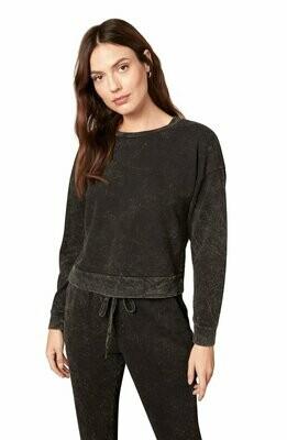 Black Acid Wash Pullover Sweatshirt