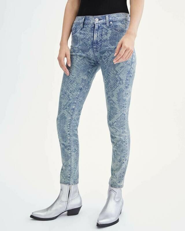 Blue Snakeskin Coated Ankle Skinny Jean