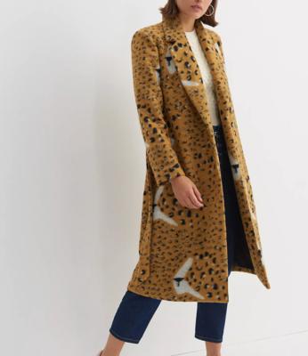 Golden Leopard Intarsia Wrap Jacket