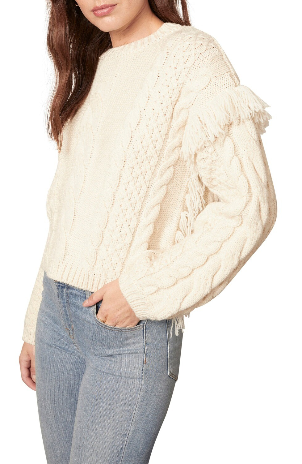 Cream Fringed Cable Knit Sweater