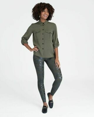 Green Camouflage Faux Leather Spanx Leggings