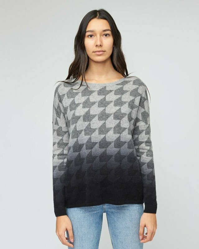 Gray Dip-Dye Fade Houndstooth Cashmere Sweater