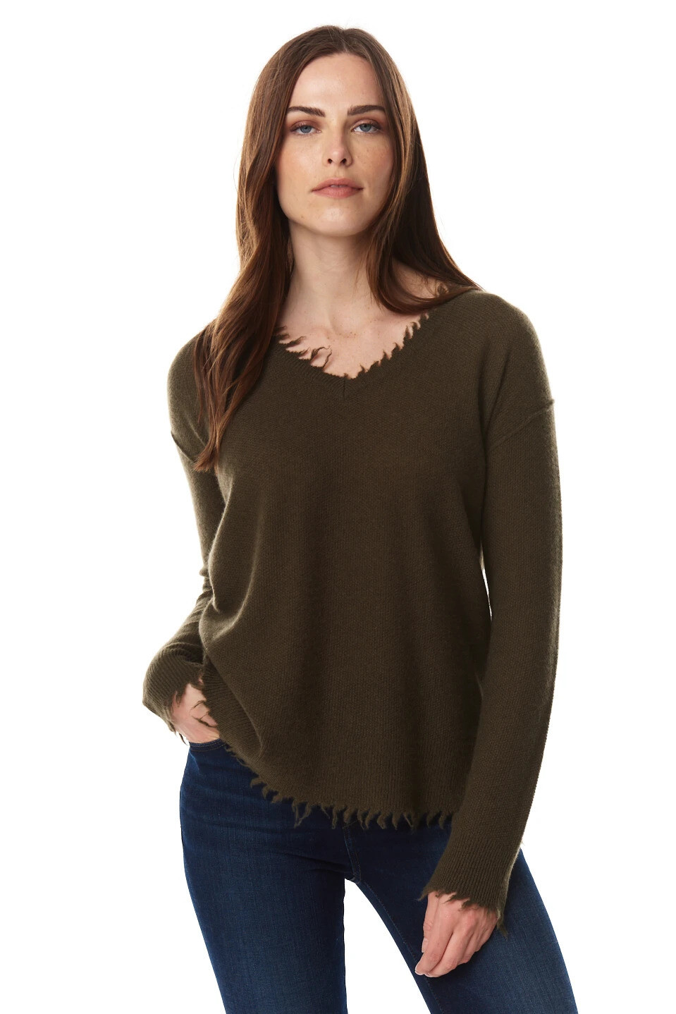 Olive Green Raw Edge Cashmere Sweater