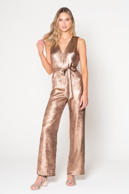 Bronze Shimmer Belted Jumpsuit