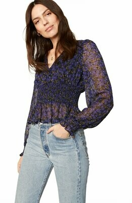 Midnight Blue Floral Smocked Chiffon Blouse