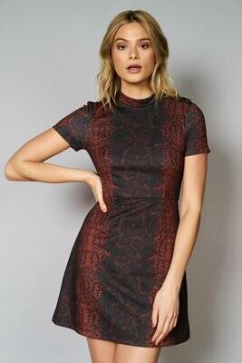 Burgundy Snakeskin Mock Neck Knit Dress