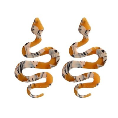 Marbled Yellow Python Drop Earrings
