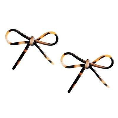 Brown Tortoise Bow Earrings