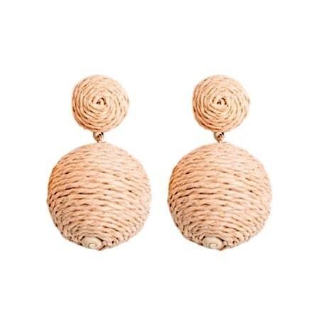Raffia Wrapped Ball Drop Earrings