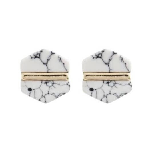Marble Hexagon Stud Earrings