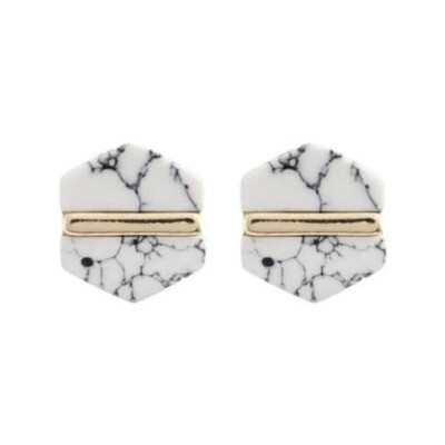 Marble Hexagon Stud Earrings