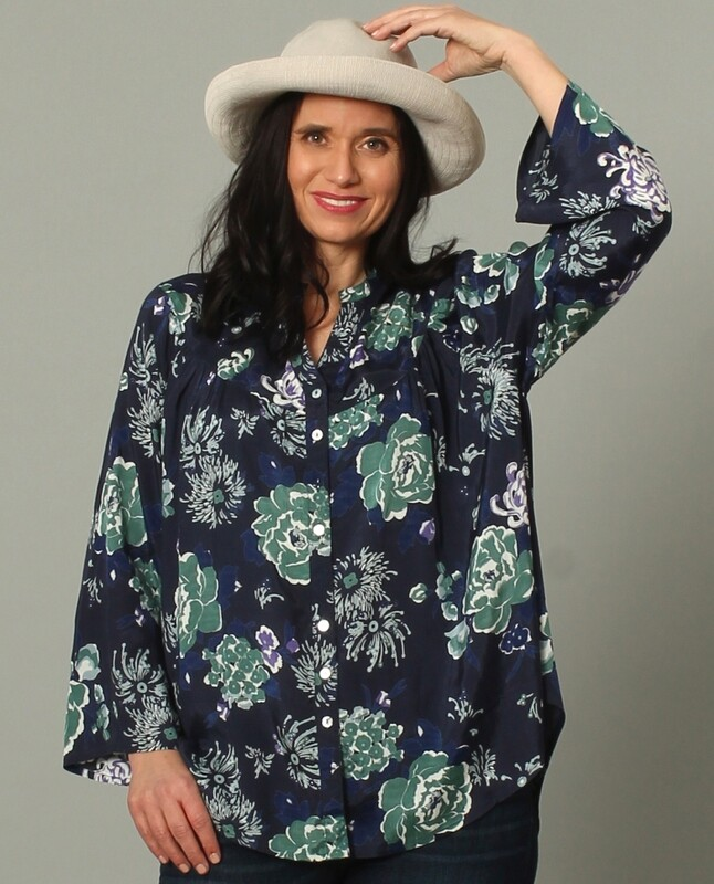 Navy Floral Sumi Blouse