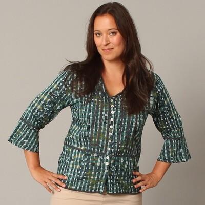Watercolor Blues Plaid Roxy Shirt