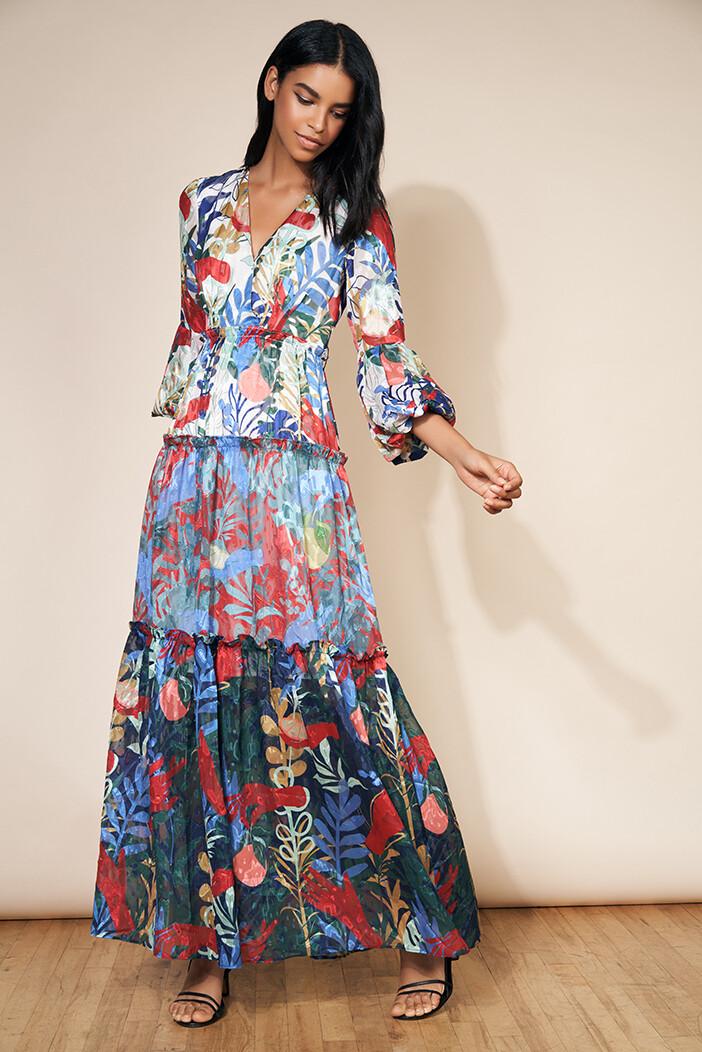 White, Red & Navy Secret Garden Maxi Dress