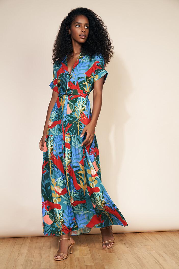 Teal Secret Garden Midi Shirt Dress