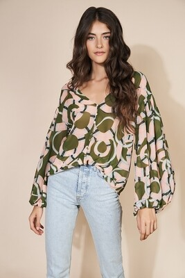 Olive Coiled Snakes Balloon Sleeve Blouse
