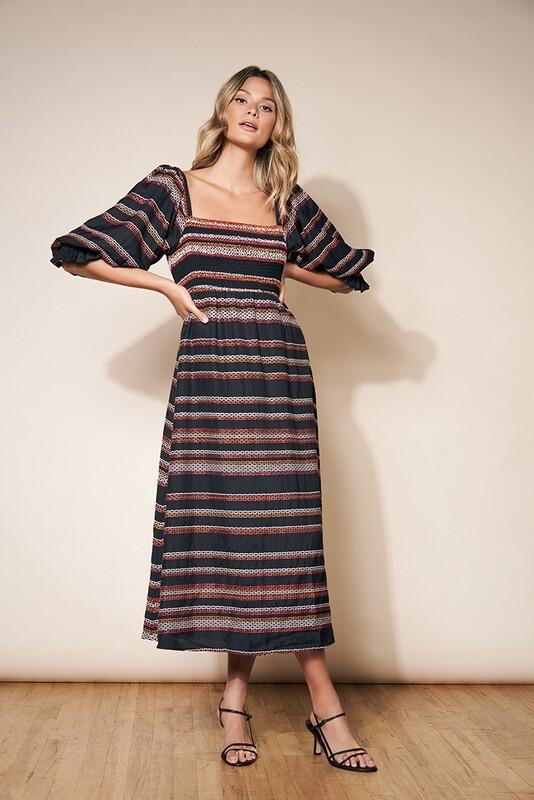 Black Morocco Stripe Smocked Maxi Dress