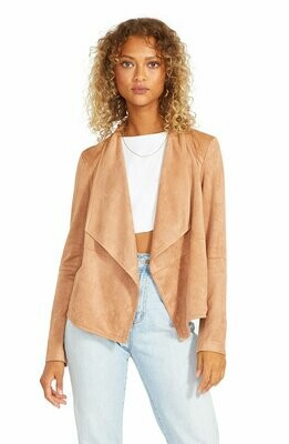 Tan Open Front Faux Suede Jacket
