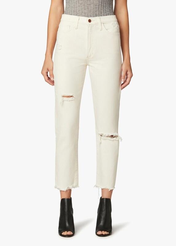 Cream Distressed High-Rise Raw Hem Straight Jean