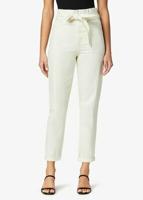 Cream Paper Bag Waist Relaxed Rolled Cuff Jean