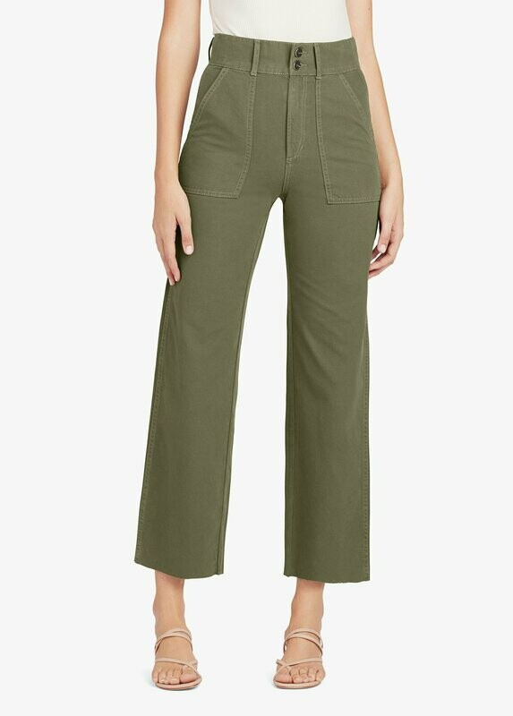 Olive High-Rise Wide Leg Cropped Jean