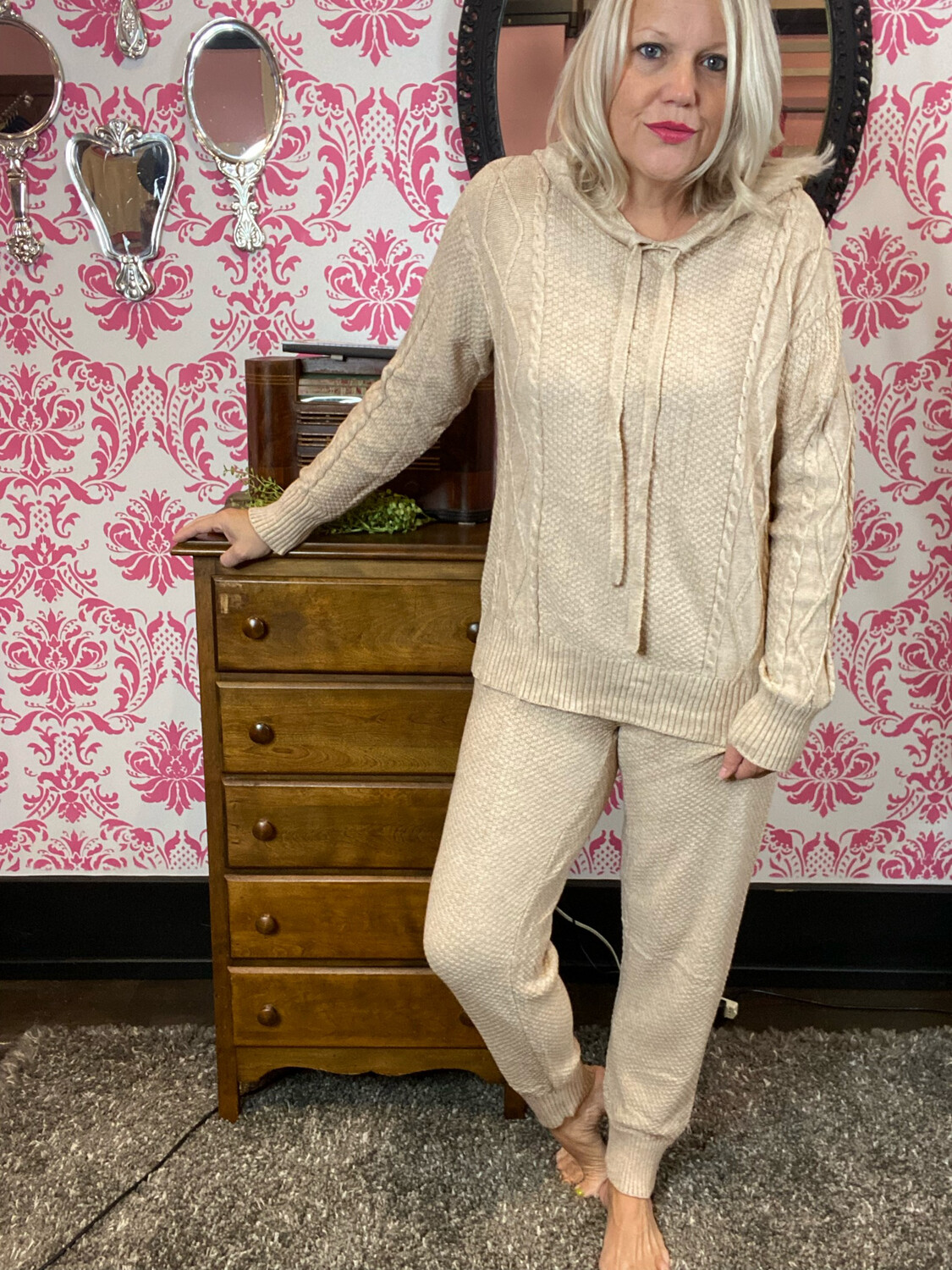 KNITTED HOODIE SET (2PC)