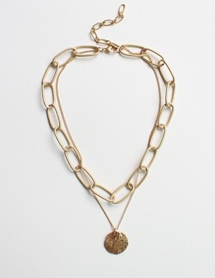 DUALING CHAIN COIN NECKLACE