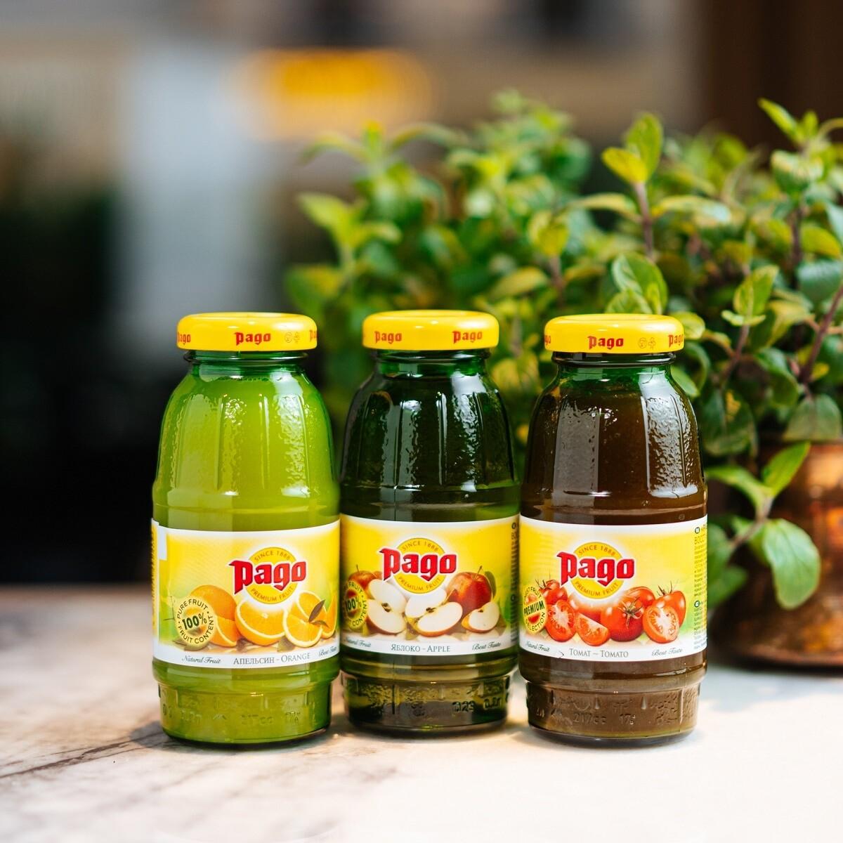 Сок Pago на выбор (яблоко, апельсин, томат)