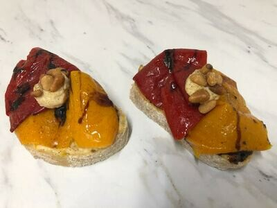 Roasted Peppers  with Hummus and pine nuts on toasted focaccia