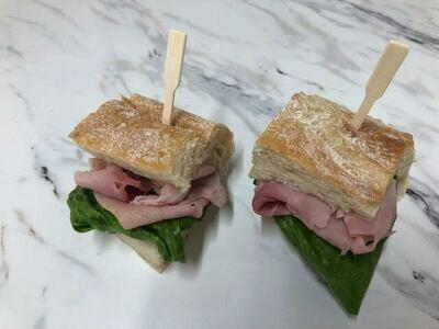 Ham and emmental baguette